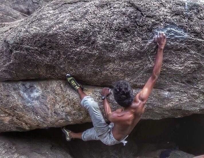 Rock Climbing Photo: Aravind cranks on Bulge of Joy, (V4/5) at Gingee