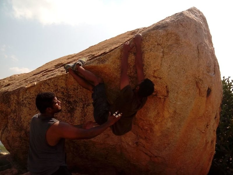 Rock Climbing Photo: Sathya on an unnamed problem.   Photo by Poonam
