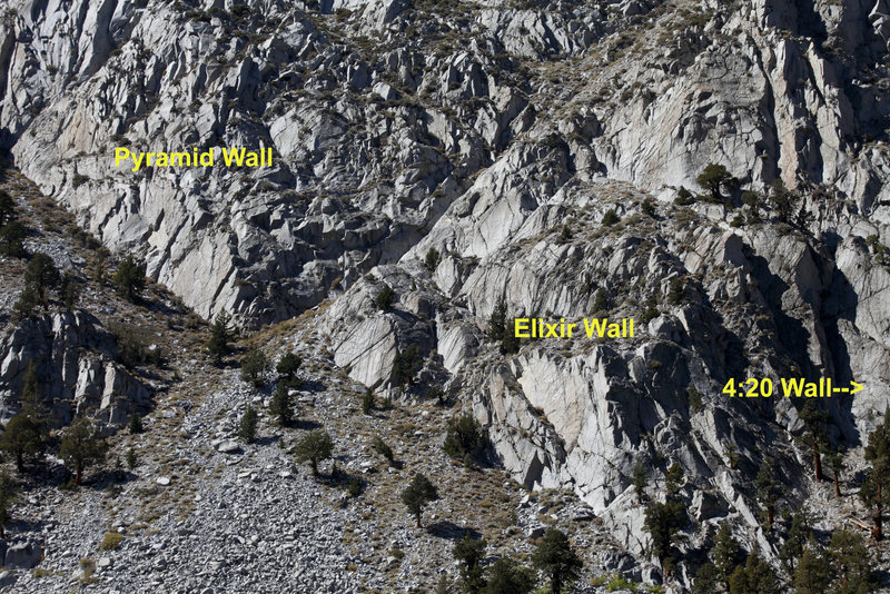 Rock Climbing Photo: Pyramid and Elixir Wall Overview