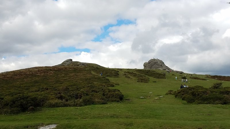 Haytor (right) and the back of Low Man (left) from the car park.