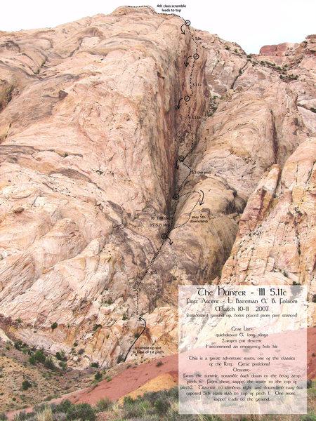 Rock Climbing Photo: Photo/Topo of the Hunter