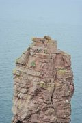 Rock Climbing Photo: Rapping off the top to the second belay point beca...