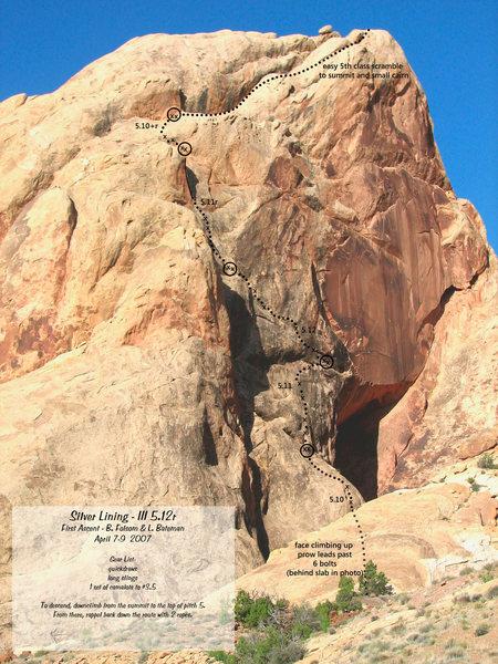 Rock Climbing Photo: Photo/Topo of Silver Lining