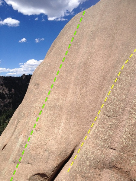 """Two of the routes on the upper wall.<br> <br> """"Never Needs Ironing"""" (sustained .9) on the left, <br> """"Change Your Shorts, Change Your life"""" (sustained 9+) on the right.<br> <br> Additional routes are farther left."""