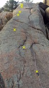 Community Service from the base of the climb. Draws help show the bolts. 7 of 8 bolts are visible.