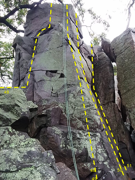 The rope is on Guillotine 49. Route @POUND@48, 50 (Barefoot Crack), & 51 (Guillotine East) are also visible.