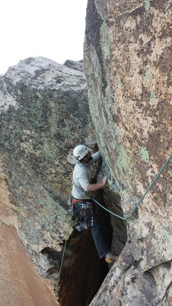 Rock Climbing Photo: P13 Very short traverse pitch. Super awesome!!!!!