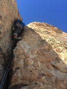 Rock Climbing Photo: P15 finishing the Kracken, felt like 10- for a bit