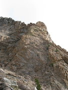 Rock Climbing Photo: Looking up goats do roam, the route starts right o...