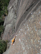 Rock Climbing Photo: Starting up the crimp face of Hold it Like a Hambu...