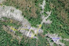 High Plains Drifter Traverse and surrounding climbs.   <br />A = Camptown Races <br />B = High Plains Drifter Traverse <br />C = Tennessee Mare <br />D = Tennessee Stud <br />E = Dodge City