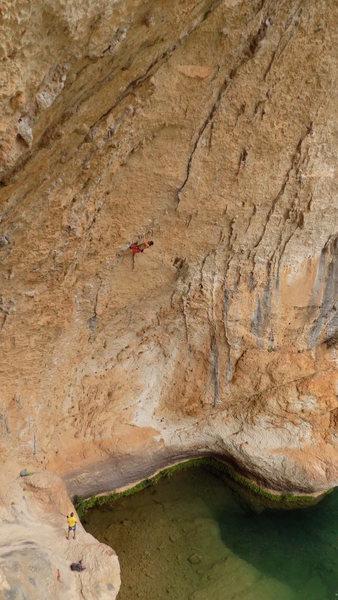 Climber: Elliot Bates approaching the crux