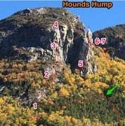 Rock Climbing Photo: Great day up here yesterday! Red line are up track...