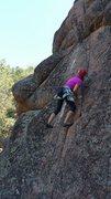 Rock Climbing Photo: Justine Poole working on the FA.