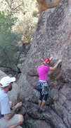 Rock Climbing Photo: Justine Poole getting started.