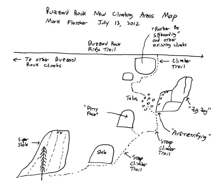 Map to Buzzard Rock New Climbing Areas (Aretefying, Super Slab area)