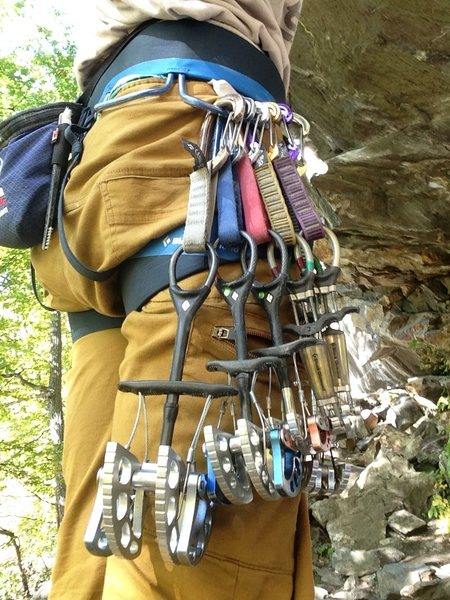 Rock Climbing Photo: This was the rack I used. Arranged in order the .7...