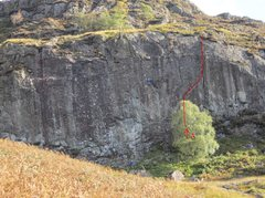 Rock Climbing Photo: The red line was the first route on this Crag  Cli...