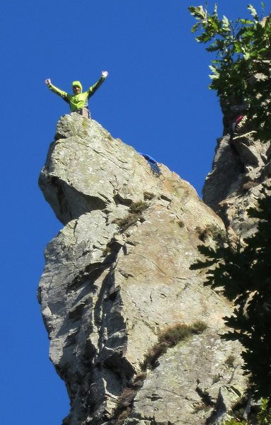Andy on the Pinnacle. Tele Photo
