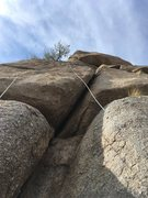 Rock Climbing Photo: Hades is the wide crack to the right of the rope.
