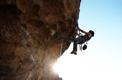 Rock Climbing Photo: Mike working the roof sequence on red devil