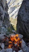 Alpine campfire black Pearl Gulley, Seth Shaw Memorial. Humans are but a spec from this high up. Cars look like ants.