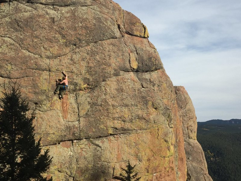 Rock Climbing Photo: The upper crux of the route.
