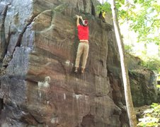 Rock Climbing Photo: Erick sticking the double clutch for the FA.