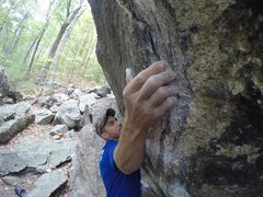 Rock Climbing Photo: Shot of the awkward pinch. Feet positioning is cru...