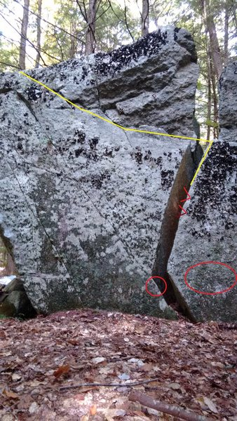 Rock Climbing Photo: Starting hands/feet with general direction of asce...