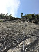 Rock Climbing Photo: Pitch 5, a crappy old pin, some serious run out, T...