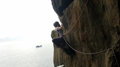 Rock Climbing Photo: Hanging out on P2