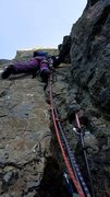 Rock Climbing Photo: Jo starting off on Diedre Sud at high tide