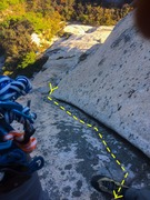 Rock Climbing Photo: The top double-hand crack on Pitch 4