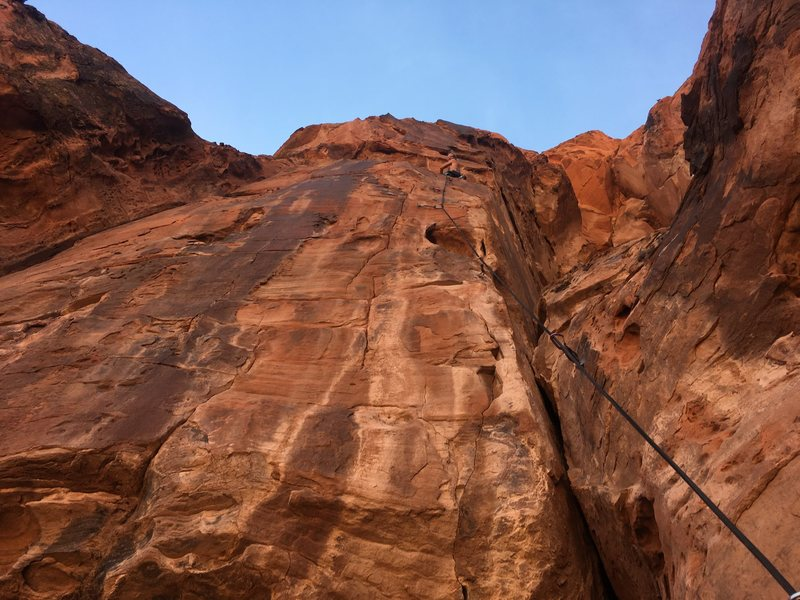 Rock Climbing Photo: Me about 2/3rds of the way up the vertical pitch.