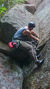 Rock Climbing Photo: Starting up the initial layback on Lady Luck.