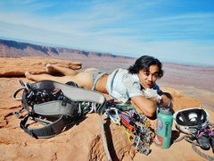 Rock Climbing Photo: josh toasting some buns on the summit. he made a p...