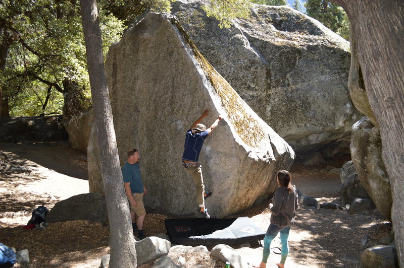 Rock Climbing Photo: The shady side of the boulder. NNW I would guess. ...