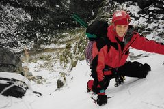 Rock Climbing Photo: In the upper snow gully with John Brochu