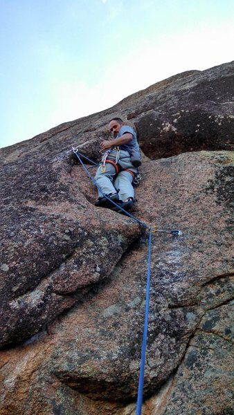 Rock Climbing Photo: Jeremy hanging loose on the opening moves of the f...