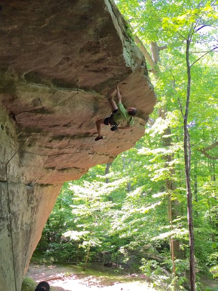 Rock Climbing Photo: Optional shakeout before final move of who let the...