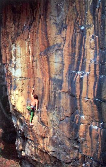 Eric Horst on Likme (5.12a), New River Gorge. <br> <br> Photo by Carl Samples.