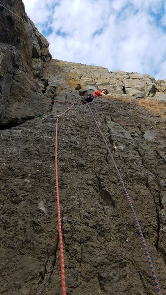 Rock Climbing Photo: Jo starts up Meridian