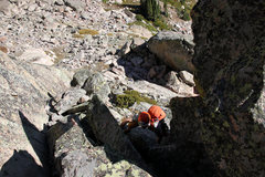 Rock Climbing Photo: Ryan on the initial 4th/low 5th class scramble.