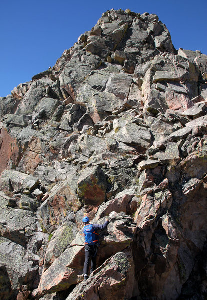 The scramble up to the base of pitch 4.