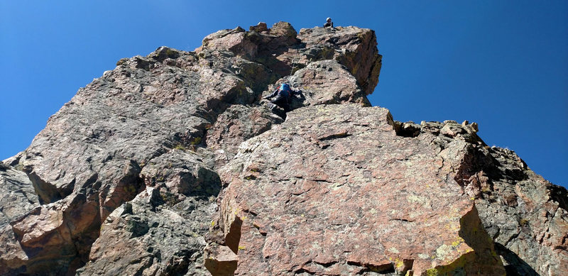 Me belaying Mikey up pitch 3.