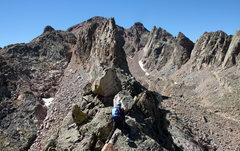 Rock Climbing Photo: Mike descending the west ridge from Freya's su...