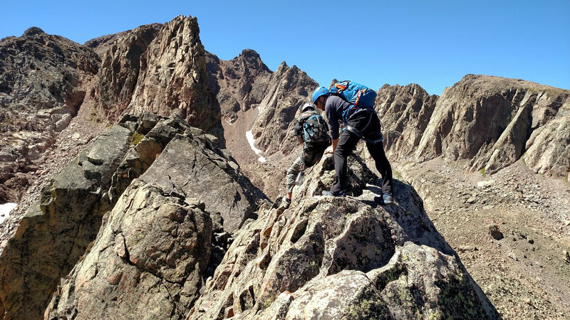 The knife-edge on Freya's west ridge.