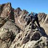 The knife-edge on Freya&@POUND@39@SEMICOLON@s west ridge.