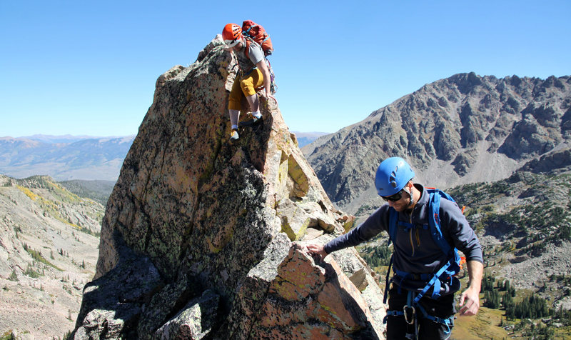 Rock Climbing Photo: Downclimbing Freya's west ridge.